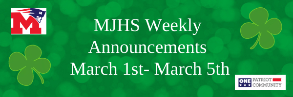 MJHS Weekly Announcements: March 1st-5th