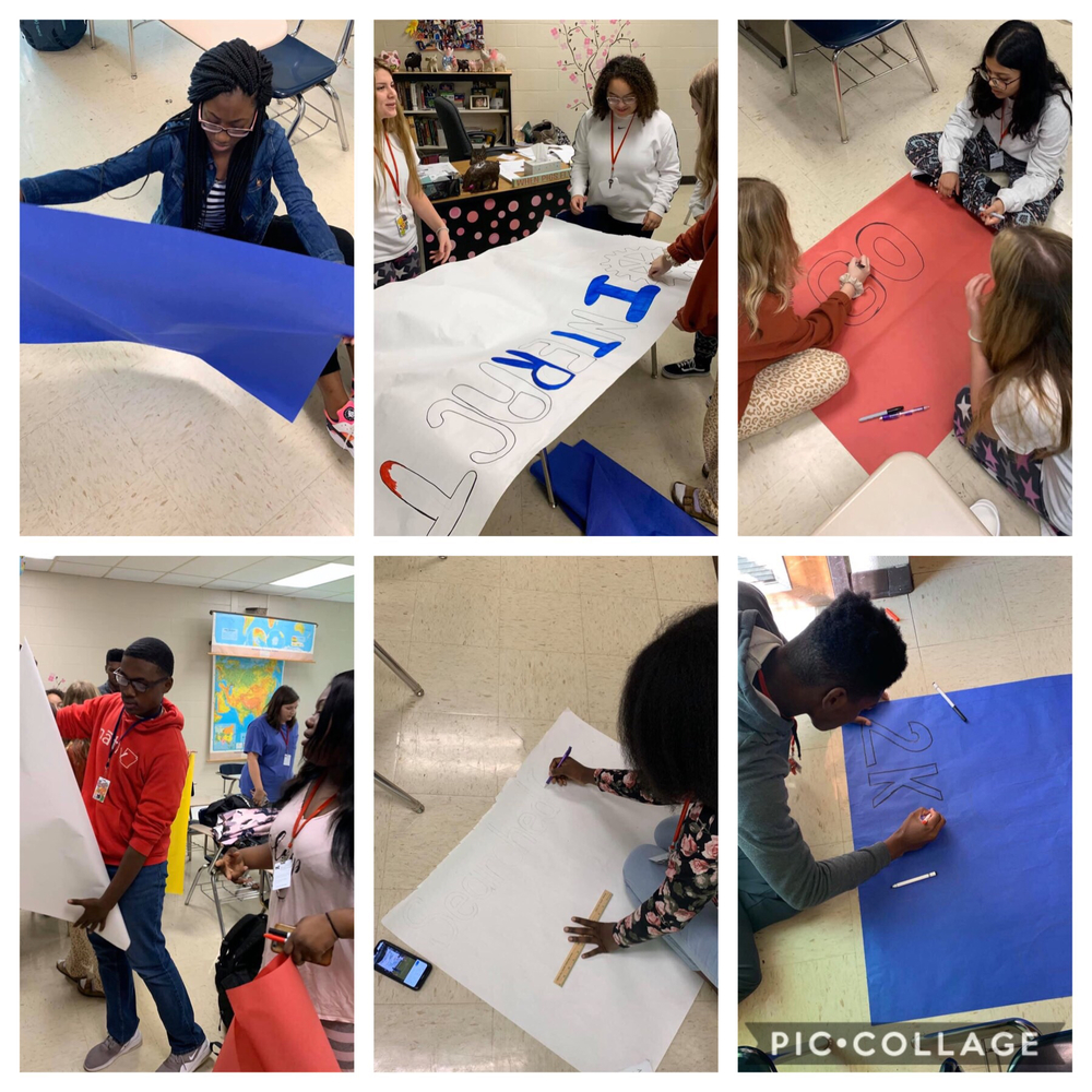 MHS Interact students are hard at work preparing for Homecoming 2019. #onepatriotonecommunity