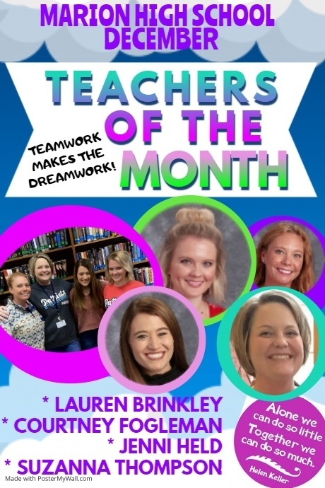 DEC. TEACHERS OF THE MONTH