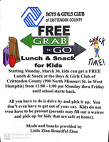 FREE GRAB -N- GO LUNCH/SNACKS