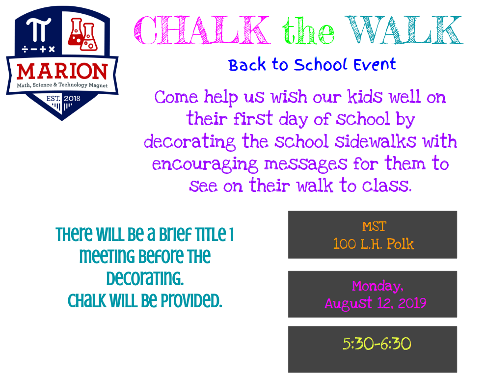 CHALK the WALK Back to School Event Flyer