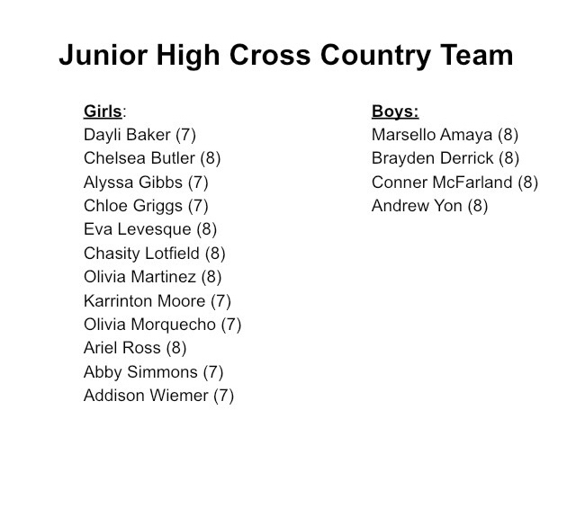 MJHS Cross Country Team