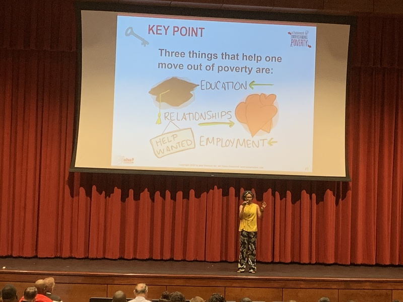 Dr. Chestin Auzenne-Curl shared with the MSD Faculty the Ruby Payne Method of understanding poverty.